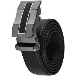 d0adaca1db99 ER Los Hombres Negros Cintura Clásica Hebilla Automático Correa De Cuero  Auténtico -Negro