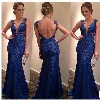 Vestido Largo De Cuello V Con Encaje Sin Mangas Elegante Para Fiestas Color  Azul fc0c3da9ae11
