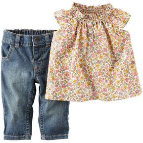 Conjunto Denim y Blusa Carter´s para Bebé Niña-Multicolor f98bb755253c