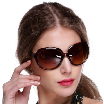 c5215cab9a Retro Vintage Shades Fashion Oversized Designer Lens Sunglasses Outdoor  Driving Eyewear Glasses para Mujer-Marrón
