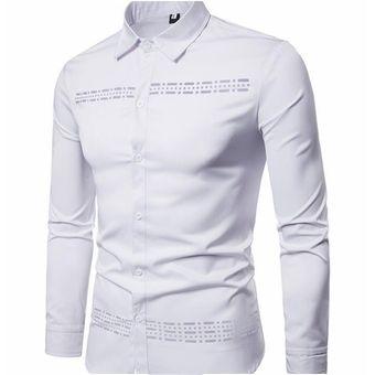 7966f38d Compra Camisa de hombre de manga larga solapa con diseño hueco ...