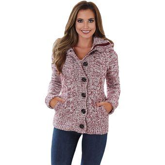 Mujer Sueter Chompas Abrigo Hooded Cardigans Estilo Modelo Y Americano Color  Rosa 055d09afb41b