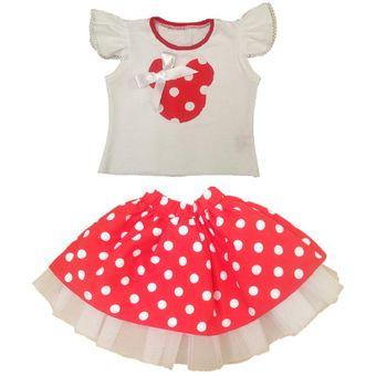 3bf0ce3d0e Vestido Para Niña Tutu Minnie Mouse Conjunto Tutu Para Niña Rojo Blanco