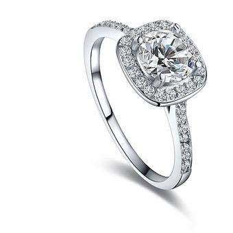 bbb3e43131e5 Compra Diamante Anillo Cristal Platino Plateó Circón Anillo ...
