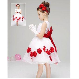 Vestidos de fiesta para nina blanco con rojo