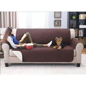f884d32bbed2 Forro Protector Sofa 3 Puestos Doble Faz Happy Bear - Cafe Y Beige