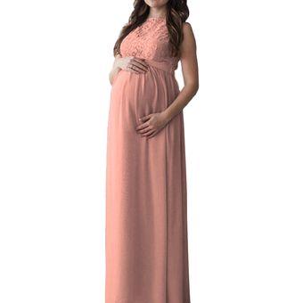 Vestido Largo Para Mujer Embarazada Con Encaje Rosa