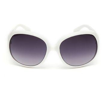 42ea4cbae9 Agotado Moda Grande Marco Redondo Gafas De Sol Mujer Ocio Ojo Los Anteojos  UV400 Lentes -Blanco