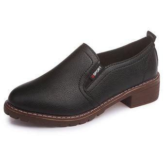 56528f3292 zapatos planos PU con cordones y punta redonda Zapatos Oxford Mujer ...