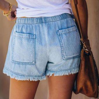 Nueva Moda Pantalones Cortos Azules De Mezclilla Para Mujer Pantalones Cortos Coreanos Con Cintura Alta Pantalones Cortos Ajustados Con Efecto Para Mujer Pantalones Cortos De Mezclilla Con Bolsillos T2g Light Blue