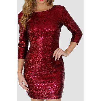 6d2709d8 Vestido de Coctel E-Thinker con lentejuelas y manga larga para mujer - Rojo