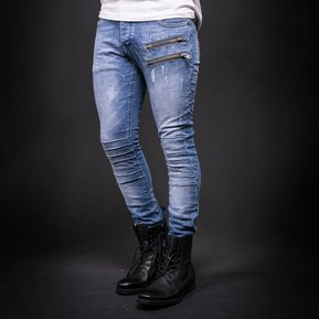 76d6cfba01 Blue Zipper Moto Biker Jeans Hombres Slim Skinny Jeans Stretch