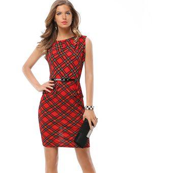 08e90a04b1b2c Compra Vestido Casual Para Mujeres De Oficina Falda Escocesa-rojo ...