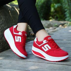 e840735d27f Zapatos De Mujer Zapatos De Cuña Ocasionales Respirables-rojo
