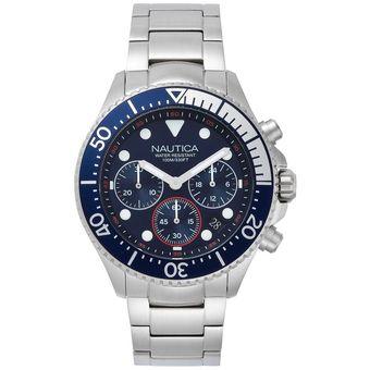 6758bedc8942 Reloj Análogo marca Nautica Modelo  NAPWPC006 color Plata   Azul para  Caballero