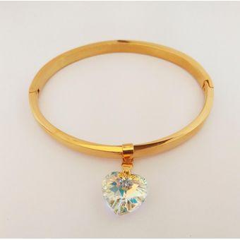 11eee9e03561 La Tienda 88 - Pulsera Brazalete Mujer Enchapado Oro Amarillo Con Dije  Cristal Swarovski Elements Blanco