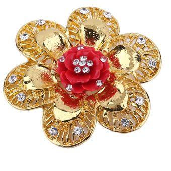 ebae7b2a55e4 EY Ciclamor chino redonda Flor Broche Vintage Bisutería Broochs Pins-Golden