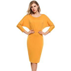 aea06d1e5 Vestido Casual Modal Suelto Yucheer Para Mujer Amarillo