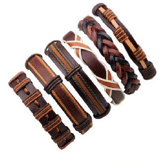 ca1ce71ca706 set 6 manillas de cuero pulsera juego 6 manillas de cuero genuino brazalete  cuero color cafe