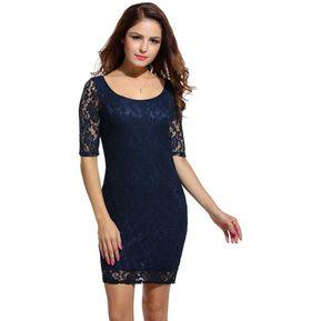ef91c8a9a Vestido De Encaje De Noche Floral Para Mujer-Azul Marino