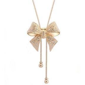 b5dc9d39fb9e EY Mujeres únicas Bowknot Collar Diseño Casual Señoras Suéter Femenino-Oro
