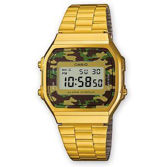 Compra Reloj Casio Vintage A168 Dorado Camuflaje Verde online ... 0da69d296b11
