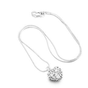 7cb16f996f9d ER 925 Plateado Plata Del Collar Del Rhinestone Colgante Corazón Cristal  Locket Cadena Plata.