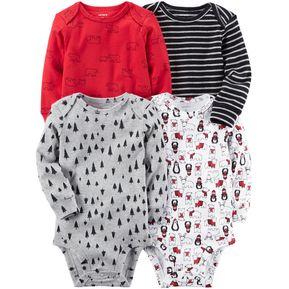 2bd3c7fa03e Carter s 4 Bodysuits De Algodón Para Bebé Niño - Multicolor