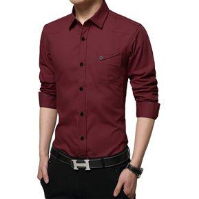 Camisas Hombre De Manga Larga De Negocios De Estilo De Ejército -Burdeos 157296253c427