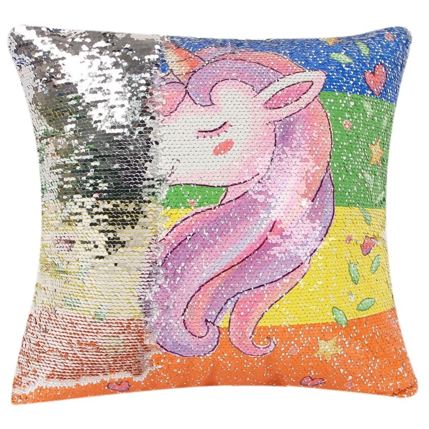 Sequin unicornio cojin decorativo cubre almohada cubierta reversible tamaño: 40cm x 40cm SU015HL1LWFL1LMX arLjvYyB arLjvYyB c9aeaYl7