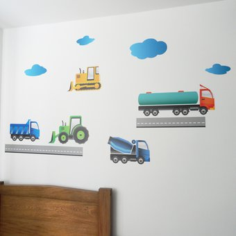 Vinilo Decorativo Infantil Por Ejemplo Carros De Construcción