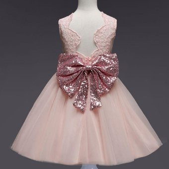 Vestido De Encaje Sin Mangas Con Lazo Para Niña Rosa