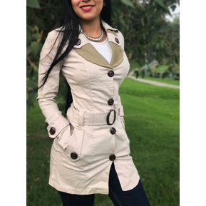 Gabán Chaqueta Abrigo Elegante Mujer Dama Ganesh M012 - Beige 194a167d95c2