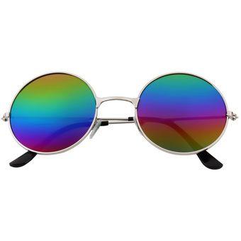 de8afdd7b5 ER Mujeres Hombres Antideslumbrante Lente Espejo Colorido Gafas Redondas  Gafas De Sol De La Vendimia Colorido