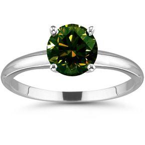 1e91f63e97ba Anillo de Compromiso Diamante Verde Marron 2.25 Ct Sic6 Oro Blanco