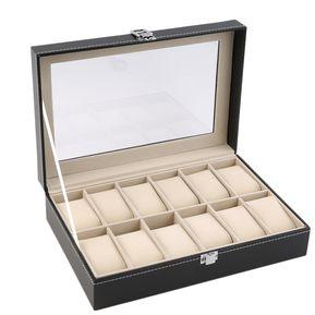 Caja Para Reloj De Cuero 12 Rejillas-Negro 3f86a8993353