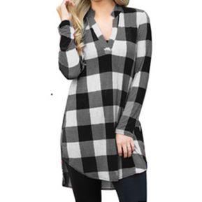 Camisa Mujer De Patrón De Cuadro Con V Cuello - Negro bbfde25f3cf1f