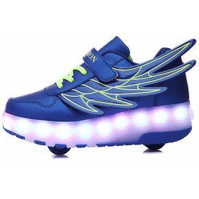 dd4da4794 LED patín ruedas doble para niños-zapatillas carga USB-Azul