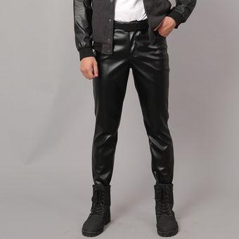 Pantalones De Piel Sintetica Para Hombre Pantalones De Imitacion Ajustados Elasticos A La Moda Inf Linio Chile Ge018fa16aou5lacl
