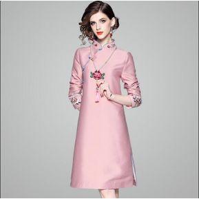 09427cd9a5 Vestido sin mangas de bordado rosa
