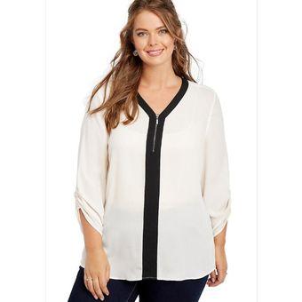 dff16f3c4fe26 Compra Camisa Manga Tres Cuartos Con Cuello V Generico Mujer-Blanco ...