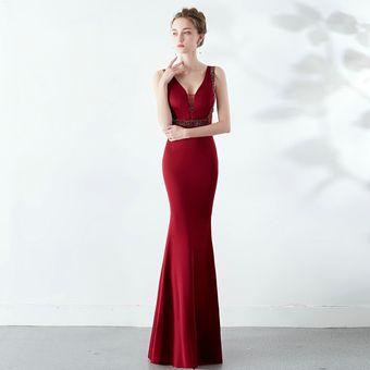 Yidingzs Cuello En V Elegante Vestido De Fiesta Transparente Con Cue