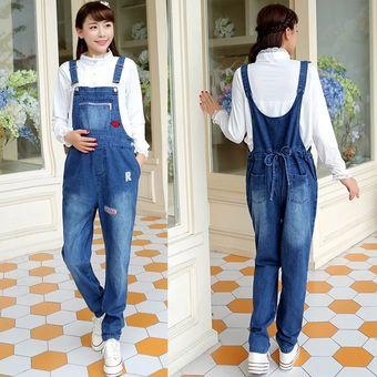 72791f9ad Pantalones Vaqueros De Tirantes Jeans De Mujer Embarazada De Moda -Azul  Oscuro