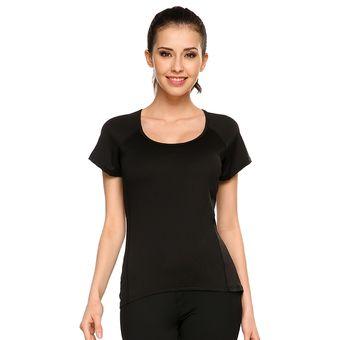 Compra Camiseta Casual Deporte Con Cuello Redondo Para Mujer-Negro ... 6631879d71648