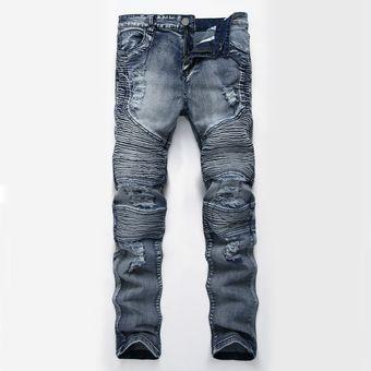 abcb7c7f4afb0 12 Hombres De Largo Motocicleta De Robin Jeans Moda Slim Pantalones Hombre  Agujero Sueltos Pantalones Casual