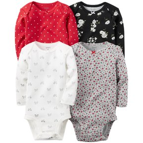 Pack De 4 Bodysuits Manga Larga De Algodón Para Bebé Niña Carter´s -  Multicolor 99c540f183ab