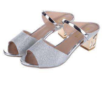 e354f356 Compra BX Mujeres Mediados De Zapatos De Tacón Peep-toe Plata online ...
