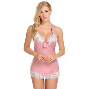 406ea8cd26 Lencería Sexy Suave Sin Espalda Ajuste Del Cordón Babydoll Chemise Pijamas  Para Mujer-Color De