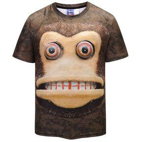 25b4c614de891 Camisetas Para Hombres Cute 3D Mono Cuello Redondo - Multicolor