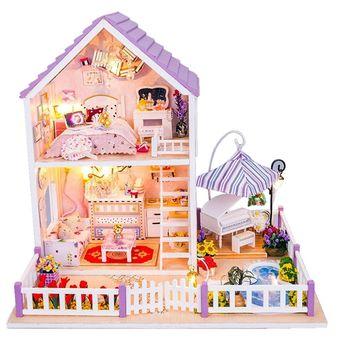 Compra pixnor juguetes ni as diy casa de mu ecas de madera Casa jardin ninos carrefour